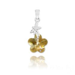 Pendentif Libellule en Argent et Fleur 14mm en Cristal Champagne