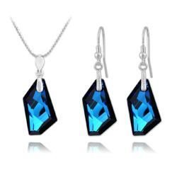 Parure De-Art en Argent et Cristal Bleu Bermude