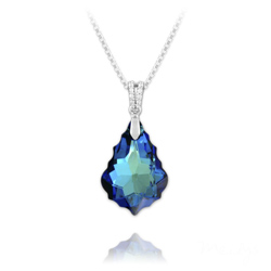 Collier Baroque 22mm en Argent et Cristal Bleu Bermude