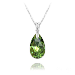 Collier Goutte 22mm en Argent et Cristal Vert Peridot AB