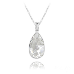 Collier Goutte 22mm en Argent et Cristal Blanc