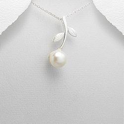 Pendentif Fleur en Argent et Perle d'Eau Douce