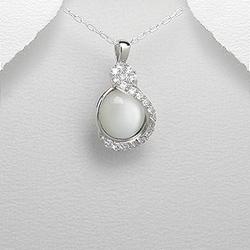 Pendentif en Argent Oeil de Chat et Diamant CZ