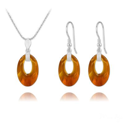 Parure en Cristal et Argent Parure Helios en Argent et Cristal Crystal Copper