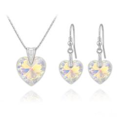 Parure Coeur en Argent et Cristal Aurore Boréale