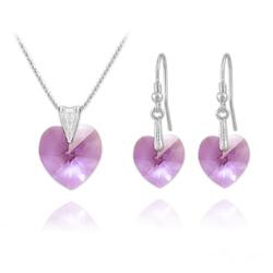 Parure Coeur en Argent et Cristal Violet