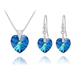 Parure Coeur en Argent et Cristal Bleu Bermude