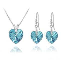 Parure Coeur en Argent et Cristal Bleu AB