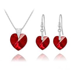 Parure Coeur en Argent et Cristal Rouge Siam AB