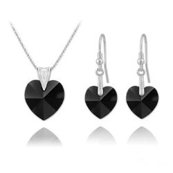 Parure Coeur en Argent et Cristal Noir