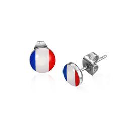 Boucles d'Oreilles en Acier Drapeau Français