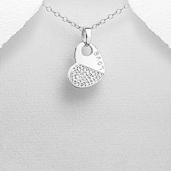Pendentif Coeur en Argent et Cristal Blanc