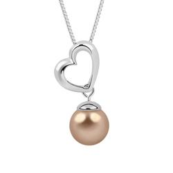 Collier Coeur Plaqué platine et Perle Bronze Nacrée