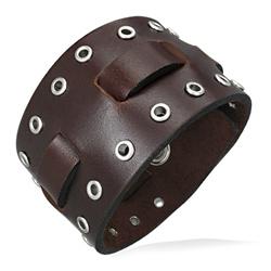 Bracelet Homme en Cuir Marron Clouté
