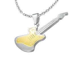 Pendentif Guitare Dorée en Acier