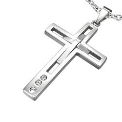 Pendentif Grande Croix en Acier et Diamant CZ