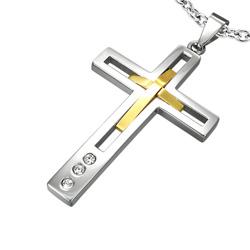 Pendentif Grande Croix en Acier Doré et Diamant CZ