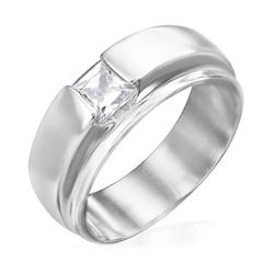 Bague en Acier et Diamant CZ