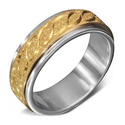 Bague Homme Spirale Dorée en Acier Diamanté