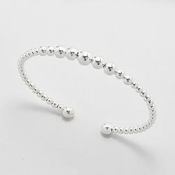 Bracelet Jonc Perle d'Argent de 3 à 6mm semi-rigide
