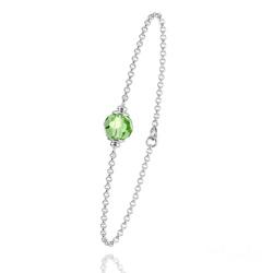 Bracelet en Argent et Perle Vert Péridot