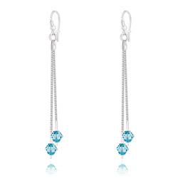 Boucles d'Oreilles 2 Chaînes en Argent et Cristal Bleu
