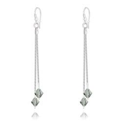 Boucles d'Oreilles 2 Chaînes en Argent et Cristal Black Diamond