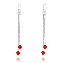 Boucles d'Oreilles 2 Chaînes en Argent et Cristal Rouge Light Siam