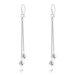 Boucles d'Oreilles 2 Cha�nes en Argent et Cristal Silver Shade