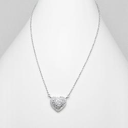 Collier Coeur en Argent serti de Diamants CZ