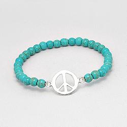 Bracelet Peace and Love en Argent et Turquoise