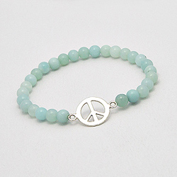 Bracelet Peace and Love en Argent et Amazonite