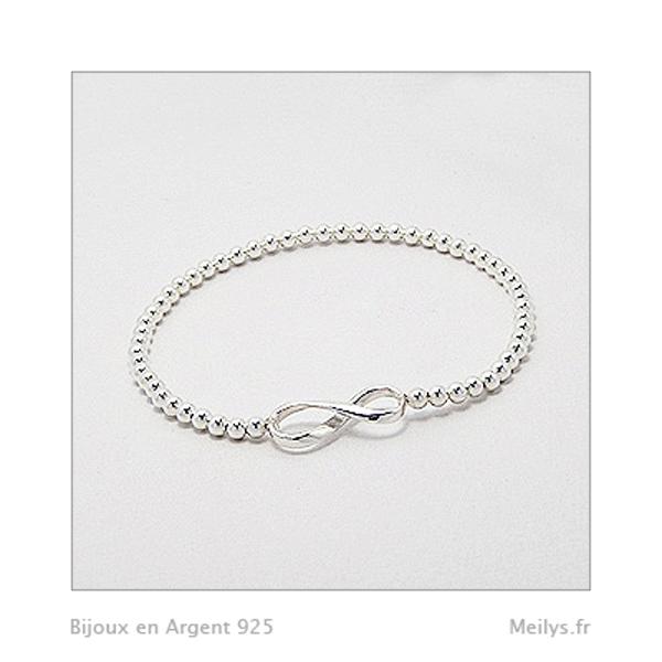 70e9e1b2b Bracelet Symbole Infini et Perle d'Argent