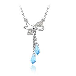 Collier Noeud Papillon en Cristal Bleu