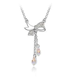 Collier Noeud Papillon en Cristal Blanc