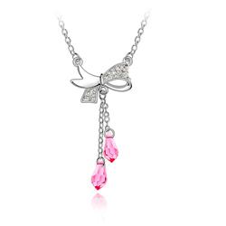 Collier Noeud Papillon en Cristal Rose
