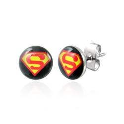 Boucles d'Oreilles en Acier Superman 7mm