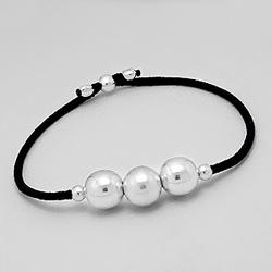 Bracelet 3 Perles d'Argent 10mm