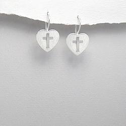 Boucles d'Oreilles Croix et Coeur en Argent
