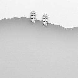 Boucles d'Oreilles Arête de Poisson en Argent et Cristal CZ