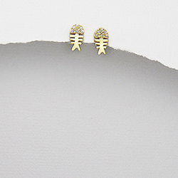 Boucles d'Oreilles Poisson Vermeil et Diamant CZ