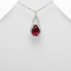 Pendentif Goutte en Argent et Diamant CZ Rouge