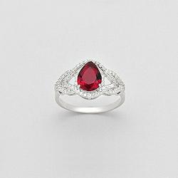 Bague en Argent Goutte Diamant CZ Rouge