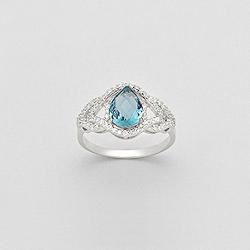 Bague en Argent Goutte Diamant CZ Bleu