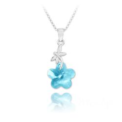 Collier Libellule en Argent et Fleur 14mm en Cristal Bleu