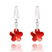Boucles d'Oreilles Fleur 12mm orn�es de Cristal SWAROVSKI ELEMENTS Rouge Light Siam