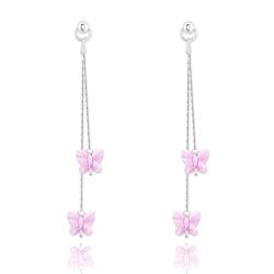 Boucles d'Oreilles Papillon en Argent et Cristal Rose Clair