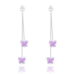 Boucles d'Oreilles Papillon en Argent et Cristal Violet