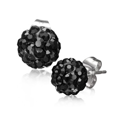 Boucles d'Oreilles en Acier Disco Ball 10mm Diamant CZ Noir