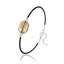 Bracelet Graphic en Argent et Cristal Champagne